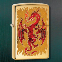 Red Fusion Dragon Zippo Lighter #80738 With Gift Box