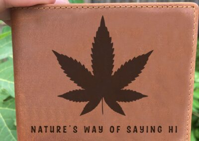 Personalized Leather Bifold Wallet With Pot Leaf
