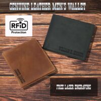 Personalized Men's Genuine Leather Wallet With RFID Blocking